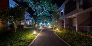 outdoor lighting in the night garden